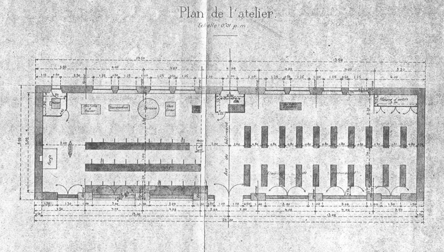 Construction d'un atelier - Dessins - Plan de l'atelier