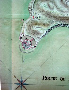 Batterie de la Grosse Tour, plan de situation. Atlas, 1775.