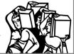 logo conçu d'apres la peinture romane de l'abbaye de Saint-Savin (Vienne) représentant la construction de la tour de Babel