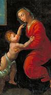 Vierge à l'Enfant. Huile sur toile, XIXe siècle, d'après Raphaël.