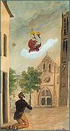 Accident de Jean Baptiste Gueit. Aquarelle, gouache sur papier, 1833, par Allègre (signé).