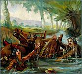 Charrette dans une rivière. Huile sur toile, 1903.